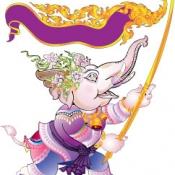 ช้างถือธงลายไทย